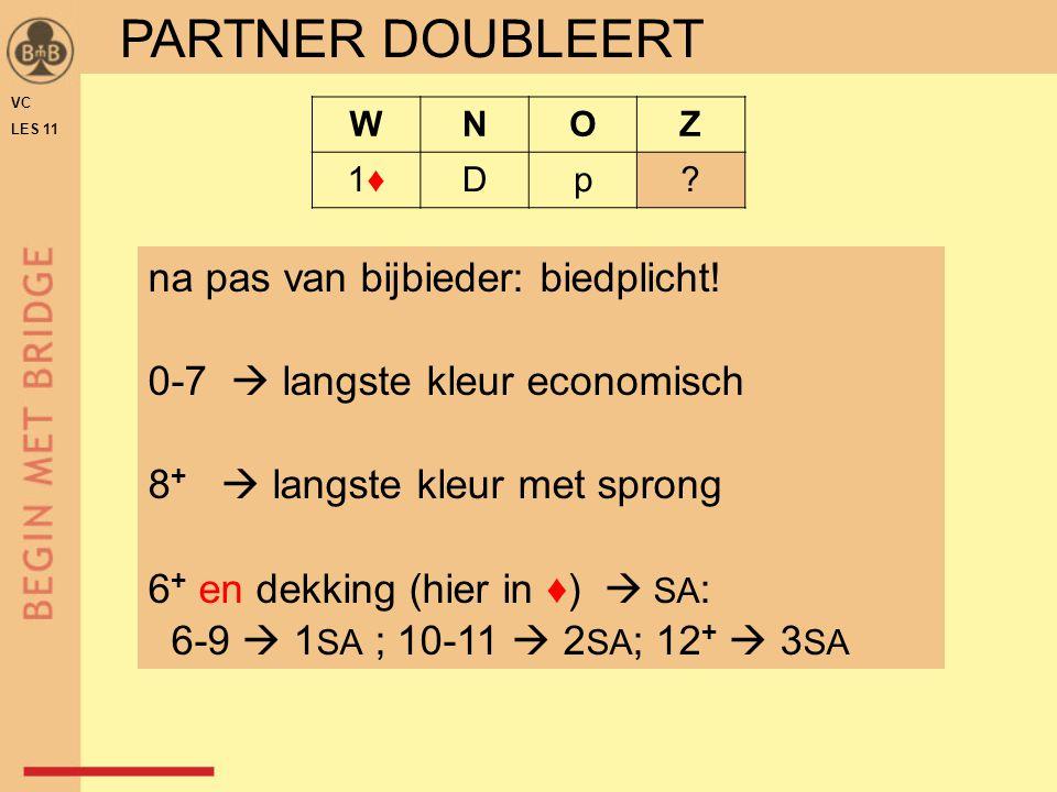 VC LES 11 WNOZ 1♦1♦Dp? PARTNER DOUBLEERT na pas van bijbieder: biedplicht! 0-7  langste kleur economisch 8 +  langste kleur met sprong 6 + en dekkin