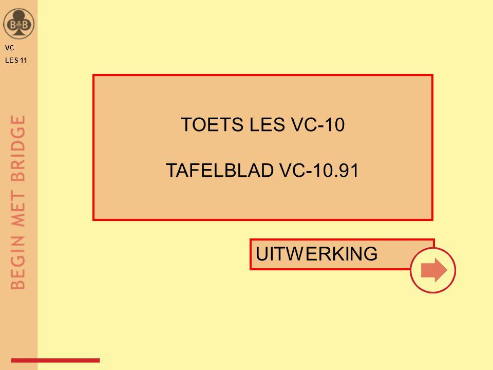 VC LES 11 ♠♥♦♣♠♥♦♣ WNOZ 1♣ ♠ B 7 6 3 ♥ A H 7 6 ♦ H 8 7 3 ♣ 7 Punten Verdeling Tolerantie voor ♦ ♥ ♠ Bieding  range = 13 + 4-kaart ♣ TAFELBLAD VC-10.91 .