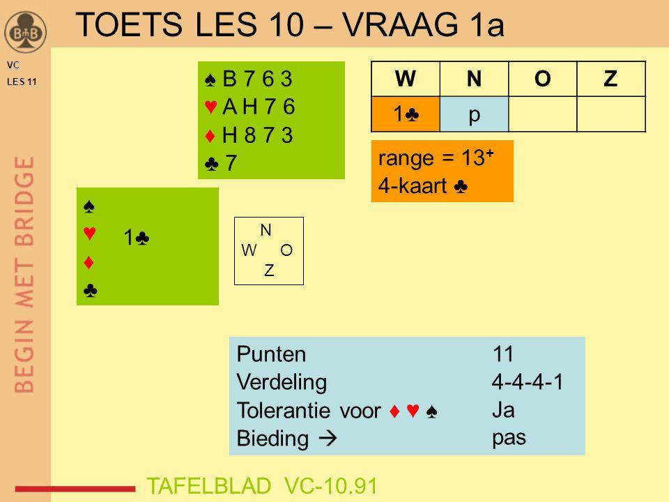 VC LES 11 ♠♥♦♣♠♥♦♣ WNOZ 1♣ ♠ A H V 9 ♥ H 8 4 2 ♦ B 7 6 ♣ 3 2 Punten Verdeling Tolerantie voor ♦ ♥ ♠ Bieding  range = 13 + 4-kaart ♣ TAFELBLAD VC-10.91 .