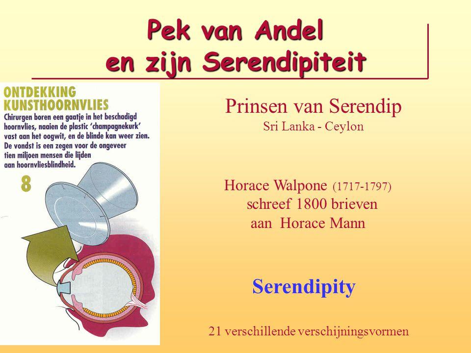 Pek van Andel en zijn Serendipiteit Prinsen van Serendip Sri Lanka - Ceylon Horace Walpone (1717-1797) schreef 1800 brieven aan Horace Mann Serendipity 21 verschillende verschijningsvormen