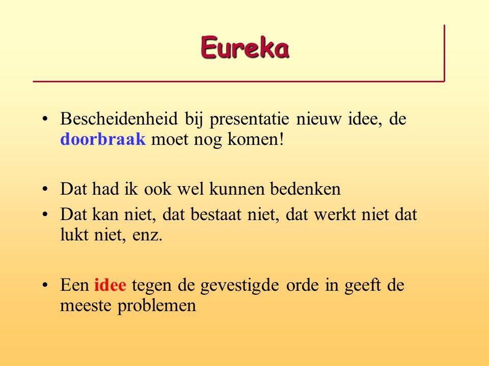 Eureka Bescheidenheid bij presentatie nieuw idee, de doorbraak moet nog komen.