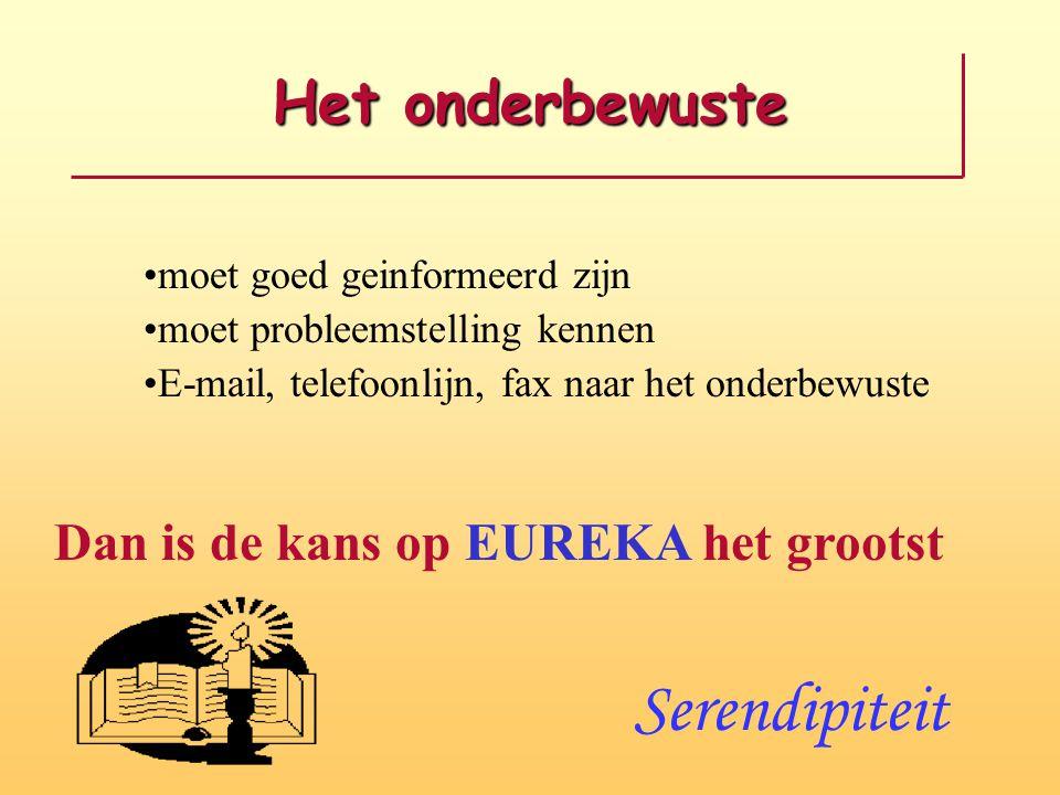 Het onderbewuste moet goed geinformeerd zijn moet probleemstelling kennen E-mail, telefoonlijn, fax naar het onderbewuste Dan is de kans op EUREKA het grootst Serendipiteit