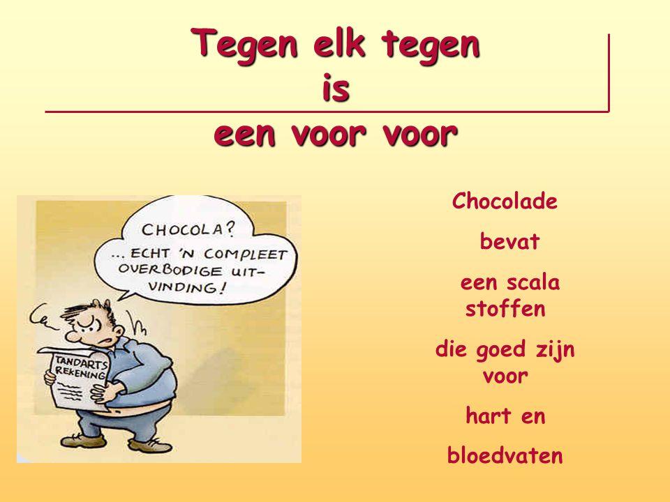 Tegen elk tegen is een voor voor Chocolade bevat een scala stoffen die goed zijn voor hart en bloedvaten