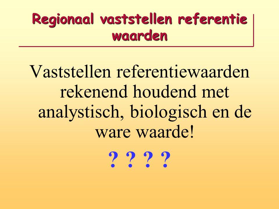 Regionaal vaststellen referentie waarden Vaststellen referentiewaarden rekenend houdend met analystisch, biologisch en de ware waarde! ? ?