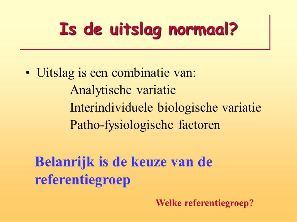 Is de uitslag normaal? Uitslag is een combinatie van: Analytische variatie Interindividuele biologische variatie Patho-fysiologische factoren Belanrij
