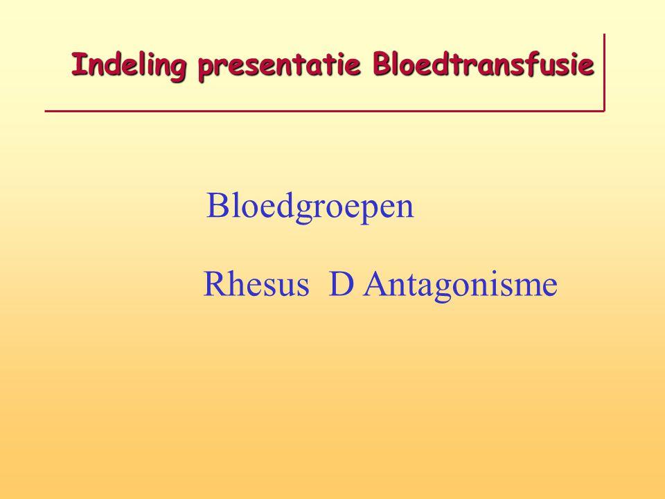 Indeling presentatie Bloedtransfusie Bloedgroepen Rhesus D Antagonisme