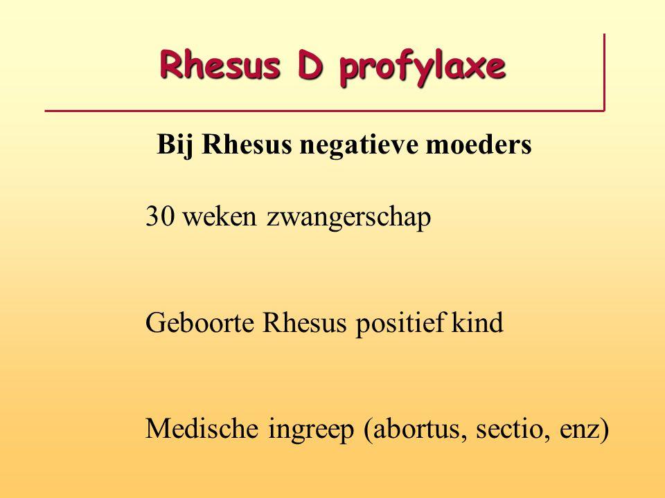Rhesus D profylaxe Bij Rhesus negatieve moeders 30 weken zwangerschap Geboorte Rhesus positief kind Medische ingreep (abortus, sectio, enz)