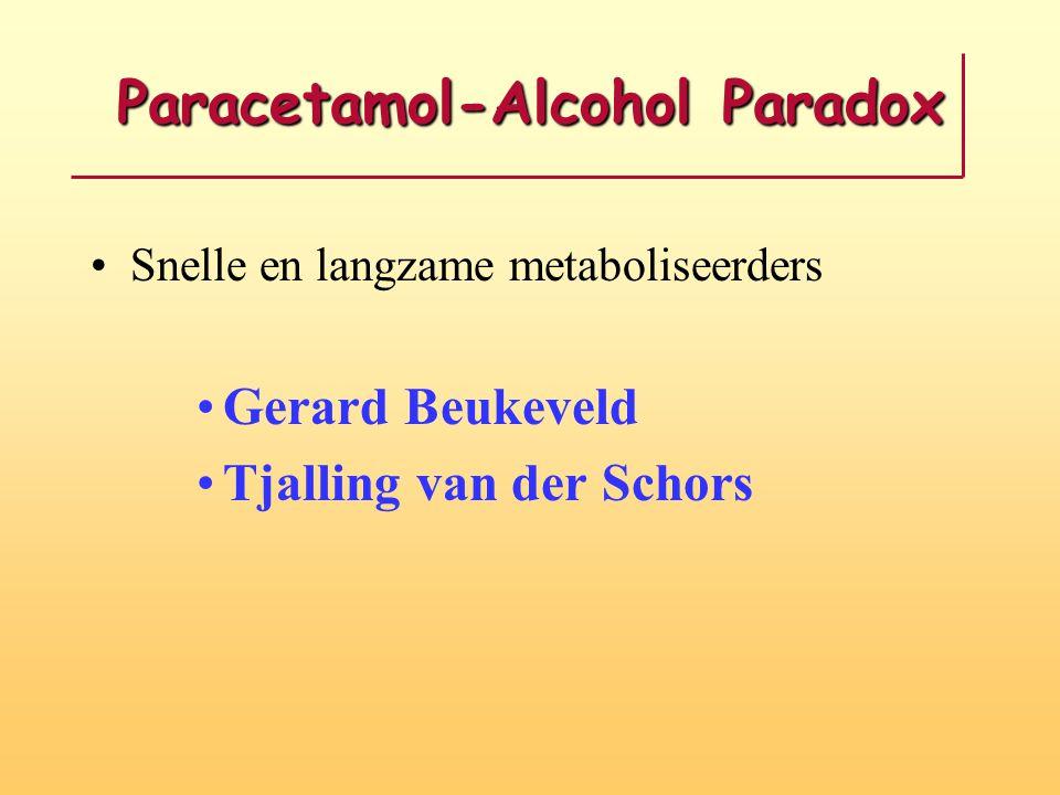 Paracetamol-Alcohol Paradox Snelle en langzame metaboliseerders Gerard Beukeveld Tjalling van der Schors