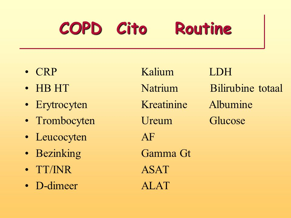 COPD Cito Routine CRP Kalium LDH HB HT Natrium Bilirubine totaal Erytrocyten Kreatinine Albumine Trombocyten Ureum Glucose Leucocyten AF Bezinking Gamma Gt TT/INR ASAT D-dimeer ALAT