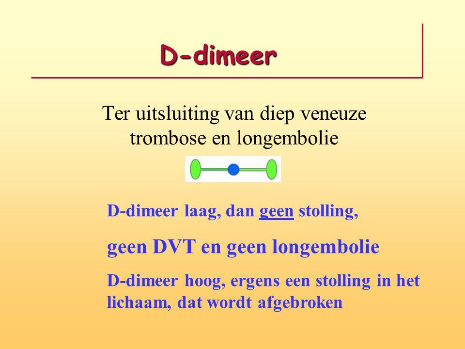 D-dimeer Ter uitsluiting van diep veneuze trombose en longembolie D-dimeer laag, dan geen stolling, geen DVT en geen longembolie D-dimeer hoog, ergens een stolling in het lichaam, dat wordt afgebroken
