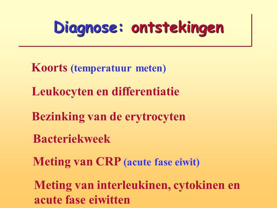 Diagnose: ontstekingen Koorts (temperatuur meten) Leukocyten en differentiatie Bezinking van de erytrocyten Bacteriekweek Meting van CRP (acute fase e