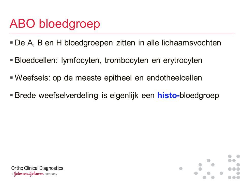 ABO bloedgroep  De A, B en H bloedgroepen zitten in alle lichaamsvochten  Bloedcellen: lymfocyten, trombocyten en erytrocyten  Weefsels: op de mees