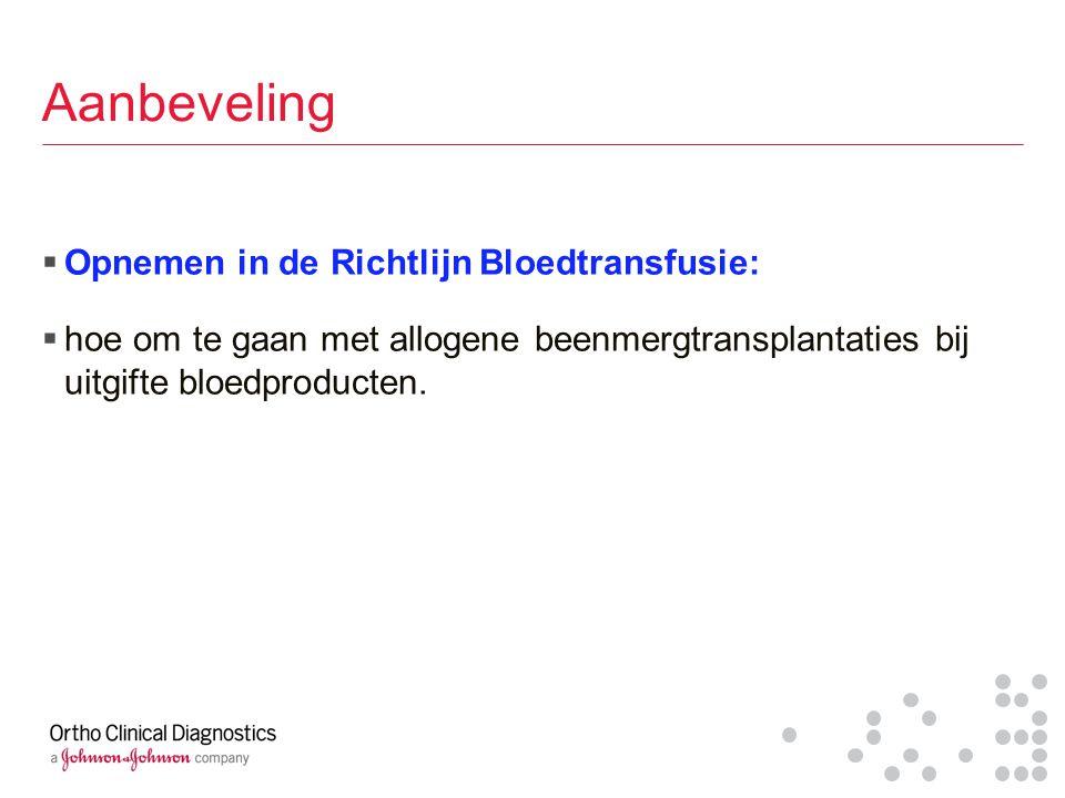 Aanbeveling  Opnemen in de Richtlijn Bloedtransfusie:  hoe om te gaan met allogene beenmergtransplantaties bij uitgifte bloedproducten.