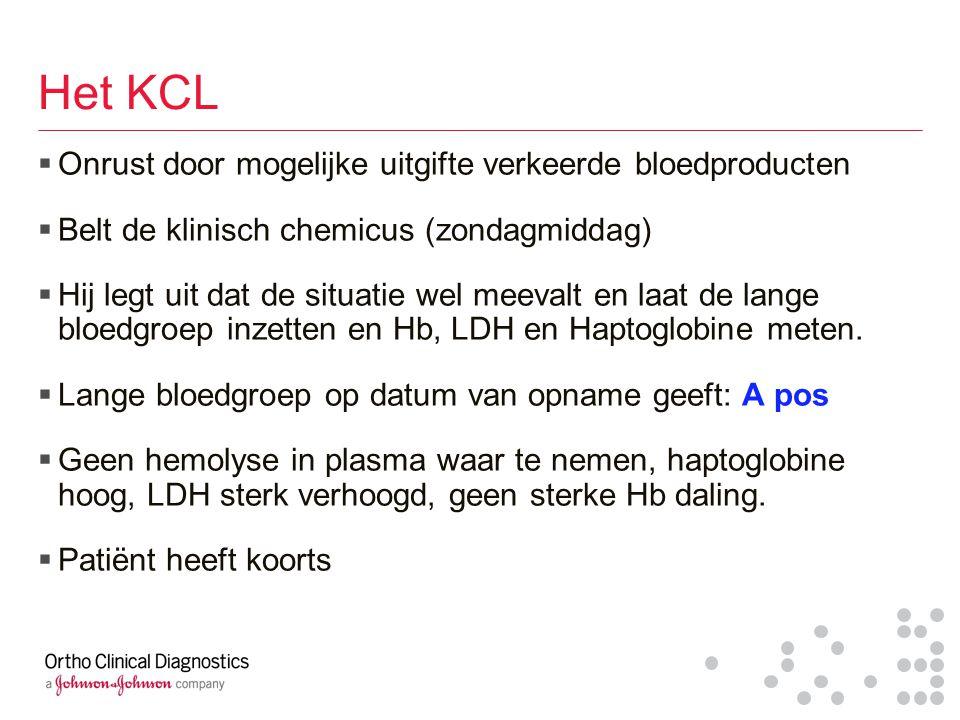 Het KCL  Onrust door mogelijke uitgifte verkeerde bloedproducten  Belt de klinisch chemicus (zondagmiddag)  Hij legt uit dat de situatie wel meeval