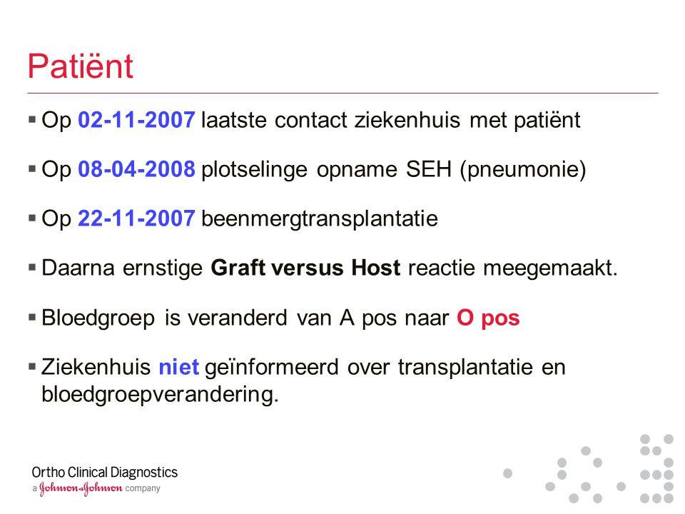 Patiënt  Op 02-11-2007 laatste contact ziekenhuis met patiënt  Op 08-04-2008 plotselinge opname SEH (pneumonie)  Op 22-11-2007 beenmergtransplantat