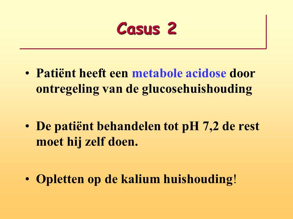Casus 2 Patiënt heeft een metabole acidose door ontregeling van de glucosehuishouding De patiënt behandelen tot pH 7,2 de rest moet hij zelf doen. Opl