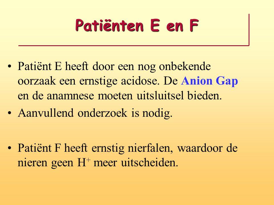 Patiënten E en F Patiënt E heeft door een nog onbekende oorzaak een ernstige acidose. De Anion Gap en de anamnese moeten uitsluitsel bieden. Aanvullen