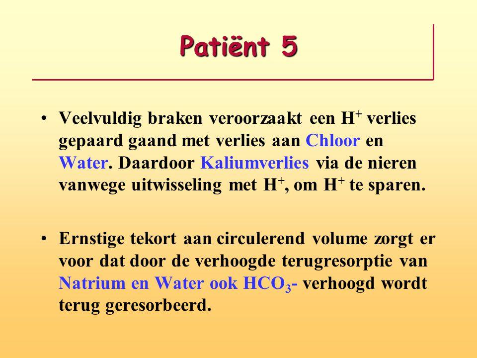 Patiënt 5 Veelvuldig braken veroorzaakt een H + verlies gepaard gaand met verlies aan Chloor en Water. Daardoor Kaliumverlies via de nieren vanwege ui