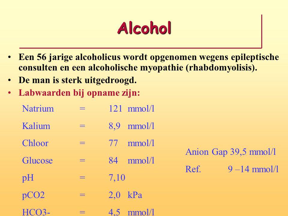 Alcohol Een 56 jarige alcoholicus wordt opgenomen wegens epileptische consulten en een alcoholische myopathie (rhabdomyolisis). De man is sterk uitged