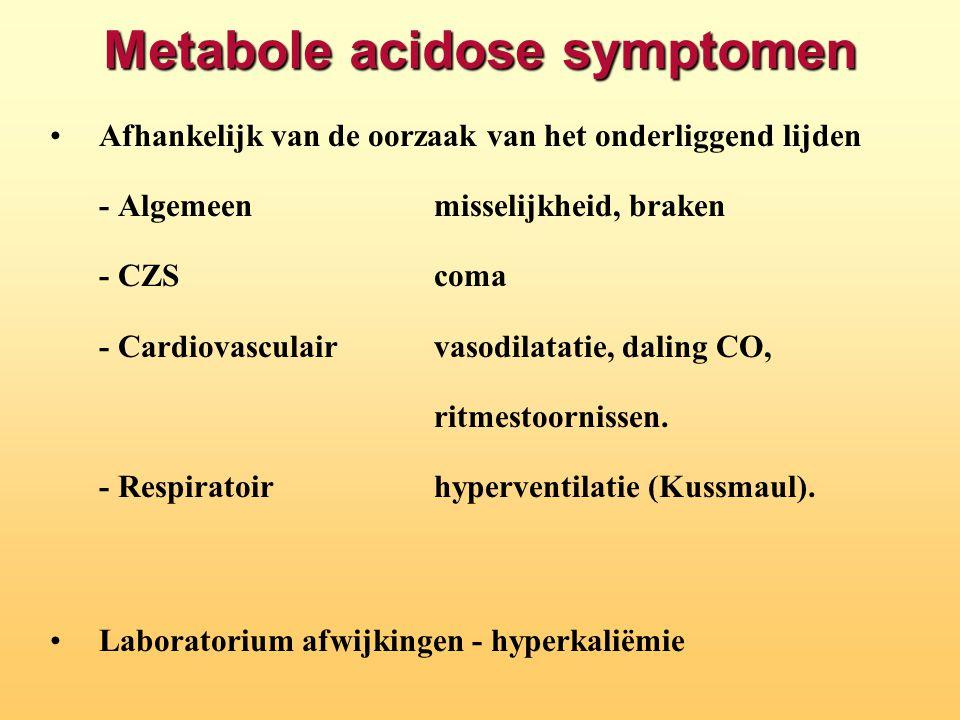 Metabole acidose symptomen Afhankelijk van de oorzaak van het onderliggend lijden - Algemeenmisselijkheid, braken - CZScoma - Cardiovasculairvasodilat