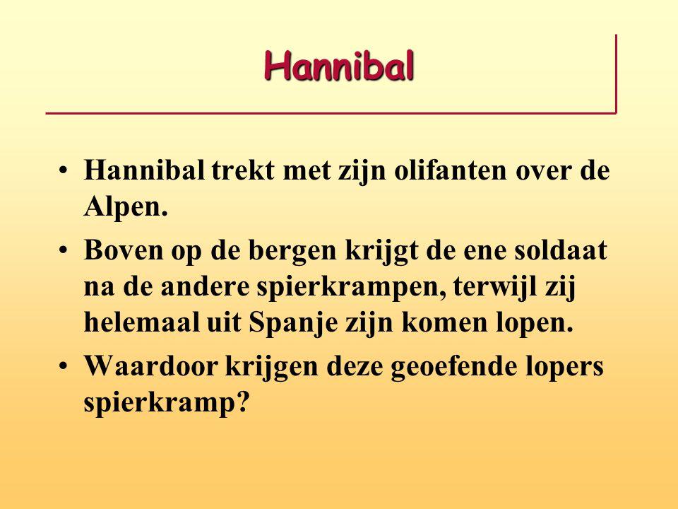 Hannibal Hannibal trekt met zijn olifanten over de Alpen. Boven op de bergen krijgt de ene soldaat na de andere spierkrampen, terwijl zij helemaal uit