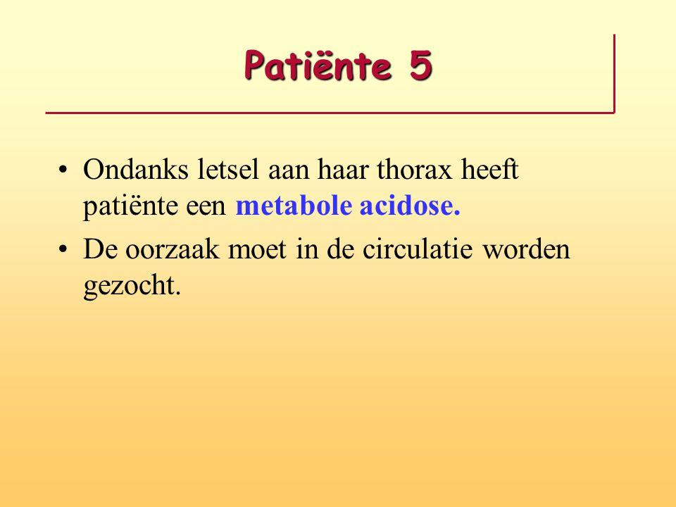 Patiënte 5 Ondanks letsel aan haar thorax heeft patiënte een metabole acidose. De oorzaak moet in de circulatie worden gezocht.
