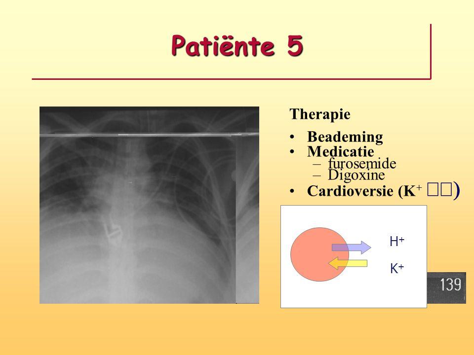 Patiënte 5 Therapie Beademing Medicatie –furosemide –Digoxine Cardioversie (K +  K+K+ H+H+ K+K+ H+H+
