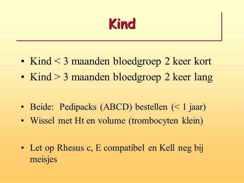 Kind Kind < 3 maanden bloedgroep 2 keer kort Kind > 3 maanden bloedgroep 2 keer lang Beide: Pedipacks (ABCD) bestellen (< 1 jaar) Wissel met Ht en volume (trombocyten klein) Let op Rhesus c, E compatibel en Kell neg bij meisjes