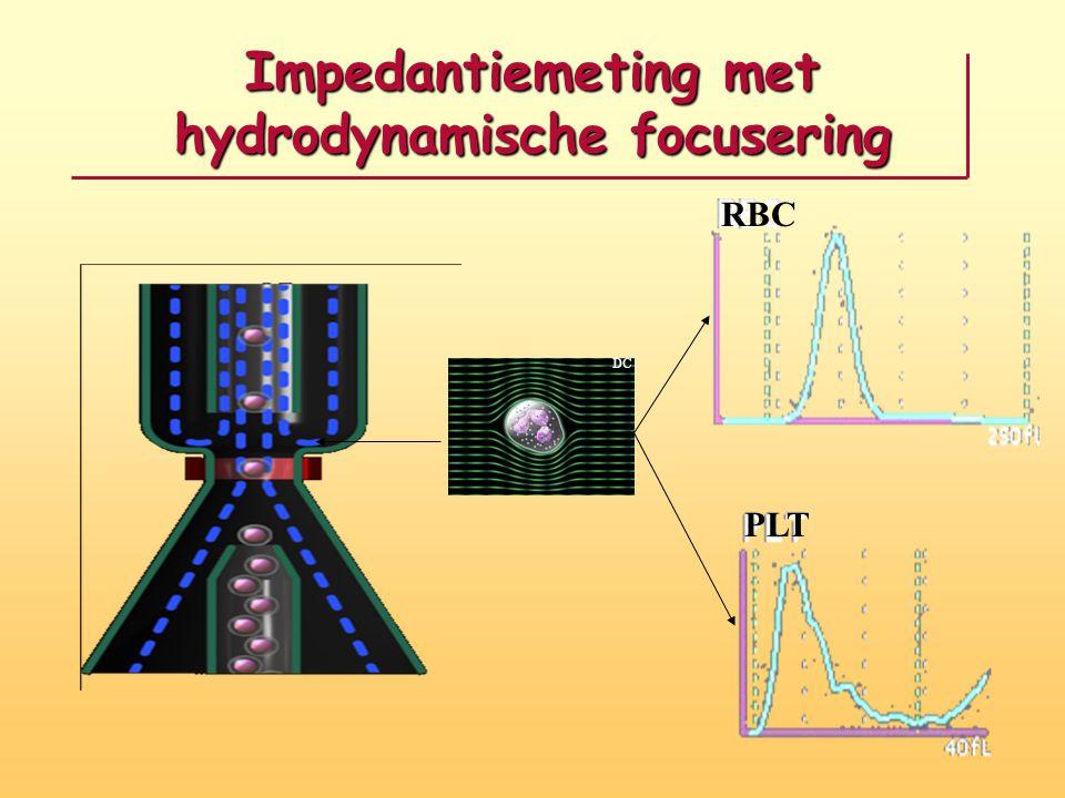 Impedantiemeting met hydrodynamische focusering DC RBC PLT