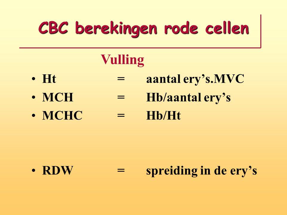 CBC berekingen rode cellen Ht=aantal ery's.MVC MCH=Hb/aantal ery's MCHC=Hb/Ht RDW = spreiding in de ery's Vulling
