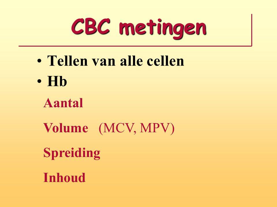 CBC metingen Tellen van alle cellen Hb Aantal Volume(MCV, MPV) Spreiding Inhoud