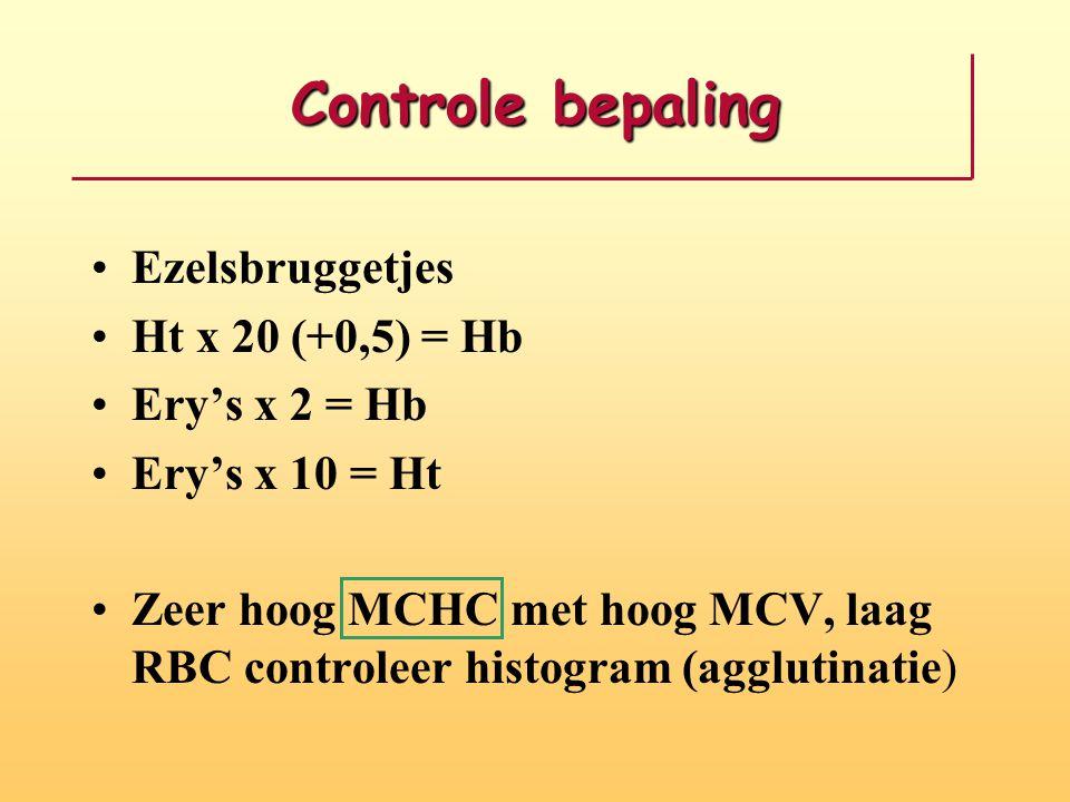 Controle bepaling Ezelsbruggetjes Ht x 20 (+0,5) = Hb Ery's x 2 = Hb Ery's x 10 = Ht Zeer hoog MCHC met hoog MCV, laag RBC controleer histogram (agglu