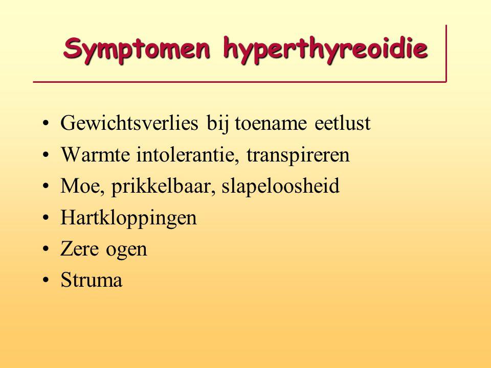 Symptomen hyperthyreoidie Gewichtsverlies bij toename eetlust Warmte intolerantie, transpireren Moe, prikkelbaar, slapeloosheid Hartkloppingen Zere og