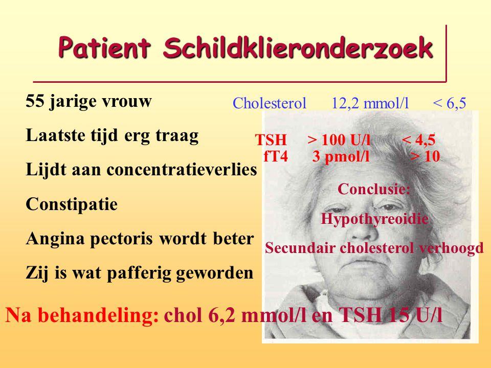 Patient Schildklieronderzoek 55 jarige vrouw Laatste tijd erg traag Lijdt aan concentratieverlies Constipatie Angina pectoris wordt beter Zij is wat p