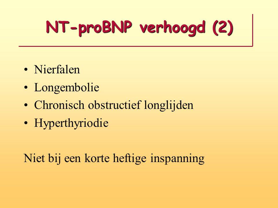 NT-proBNP verhoogd (2) Nierfalen Longembolie Chronisch obstructief longlijden Hyperthyriodie Niet bij een korte heftige inspanning