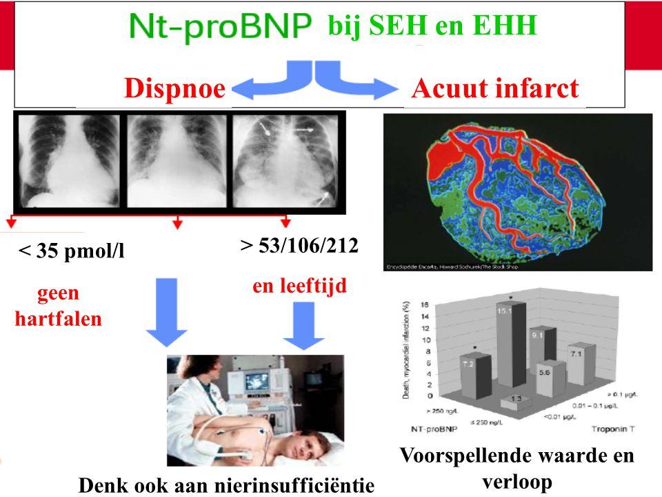 bij SEH en EHH DispnoeAcuut infarct < 35 pmol/l geen hartfalen > 53/106/212 en leeftijd Denk ook aan nierinsufficiëntie Voorspellende waarde en verloo