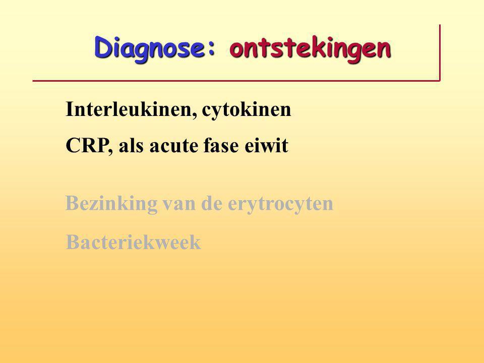 Diagnose: ontstekingen Bezinking van de erytrocyten Bacteriekweek CRP, als acute fase eiwit Interleukinen, cytokinen