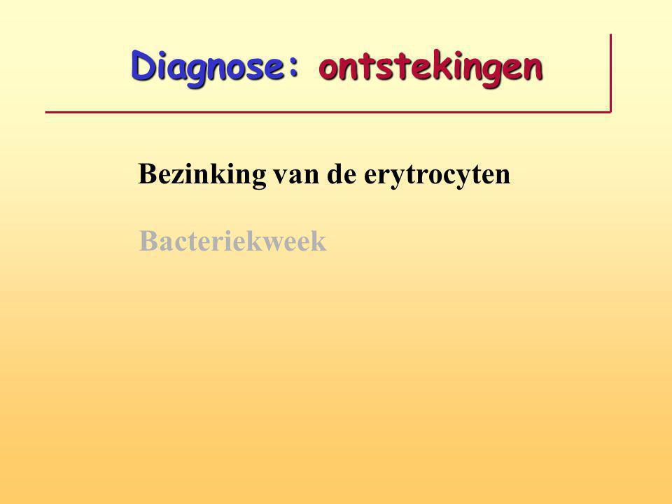Diagnose: ontstekingen Bezinking van de erytrocyten Bacteriekweek