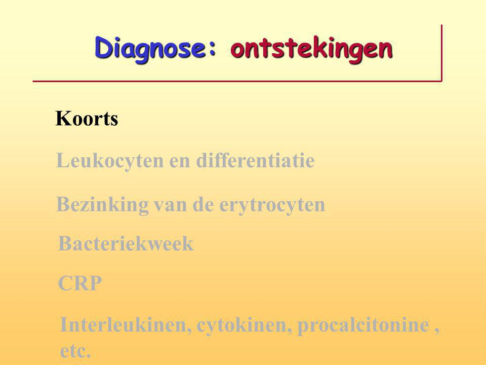Diagnose: ontstekingen Koorts Leukocyten en differentiatie Bezinking van de erytrocyten Bacteriekweek CRP Interleukinen, cytokinen, procalcitonine, etc.