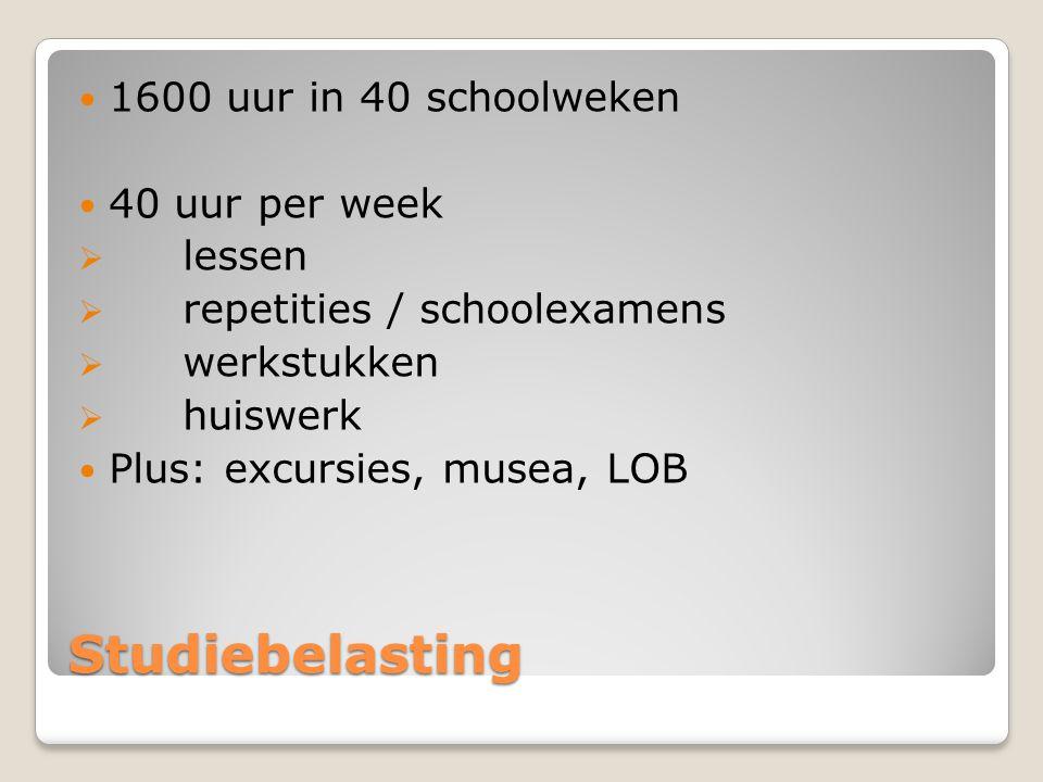 Studiebelasting 1600 uur in 40 schoolweken 40 uur per week  lessen  repetities / schoolexamens  werkstukken  huiswerk Plus: excursies, musea, LOB