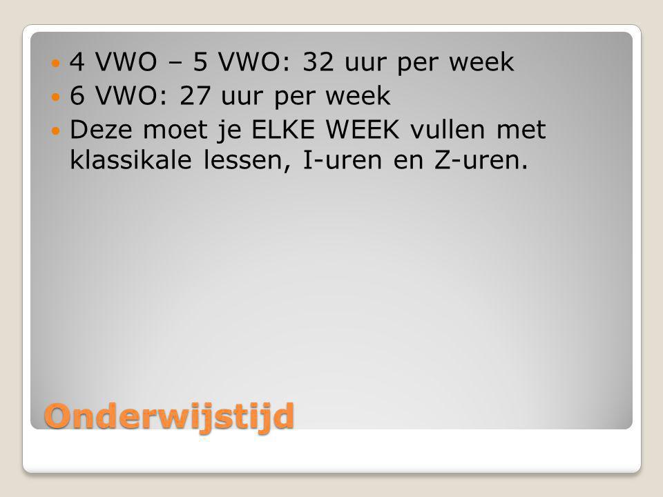Onderwijstijd 4 VWO – 5 VWO: 32 uur per week 6 VWO: 27 uur per week Deze moet je ELKE WEEK vullen met klassikale lessen, I-uren en Z-uren.
