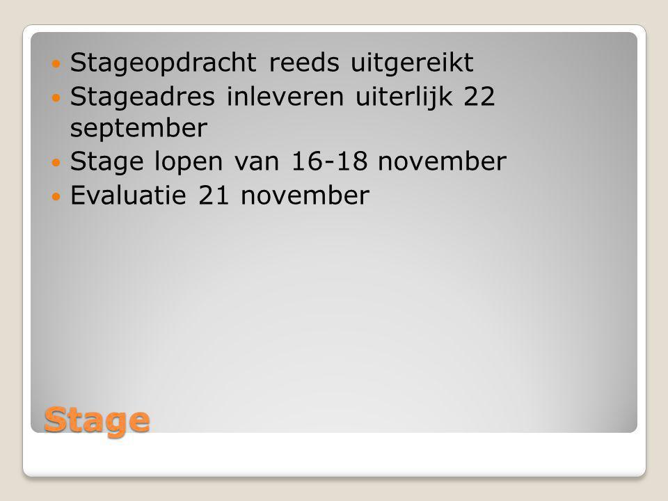 Stage Stageopdracht reeds uitgereikt Stageadres inleveren uiterlijk 22 september Stage lopen van 16-18 november Evaluatie 21 november