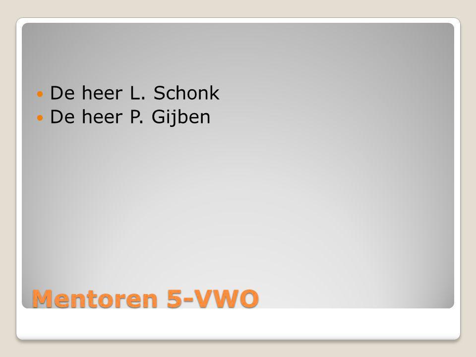 Mentoren 5-VWO De heer L. Schonk De heer P. Gijben