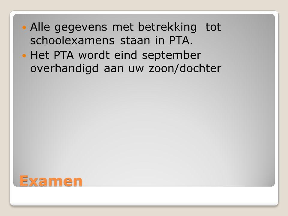 Examen Alle gegevens met betrekking tot schoolexamens staan in PTA. Het PTA wordt eind september overhandigd aan uw zoon/dochter