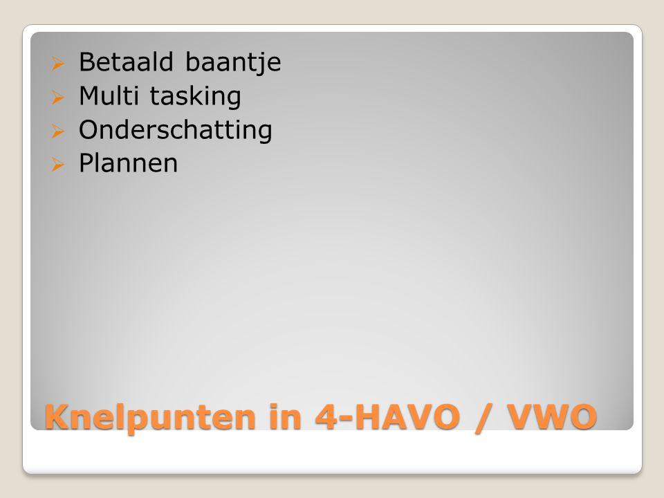 Knelpunten in 4-HAVO / VWO  Betaald baantje  Multi tasking  Onderschatting  Plannen