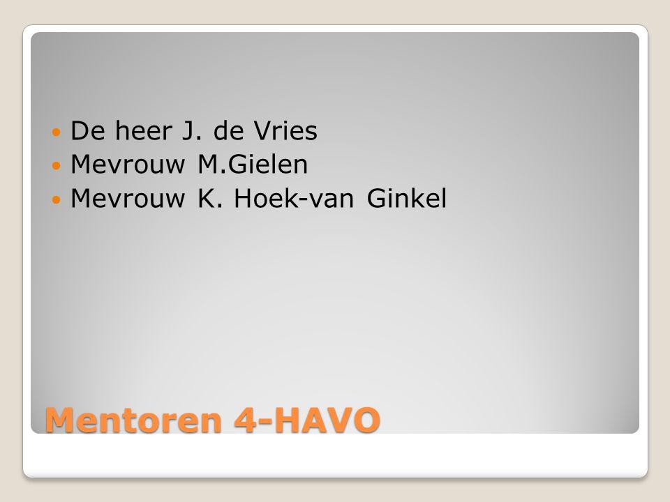Mentoren 4-HAVO De heer J. de Vries Mevrouw M.Gielen Mevrouw K. Hoek-van Ginkel