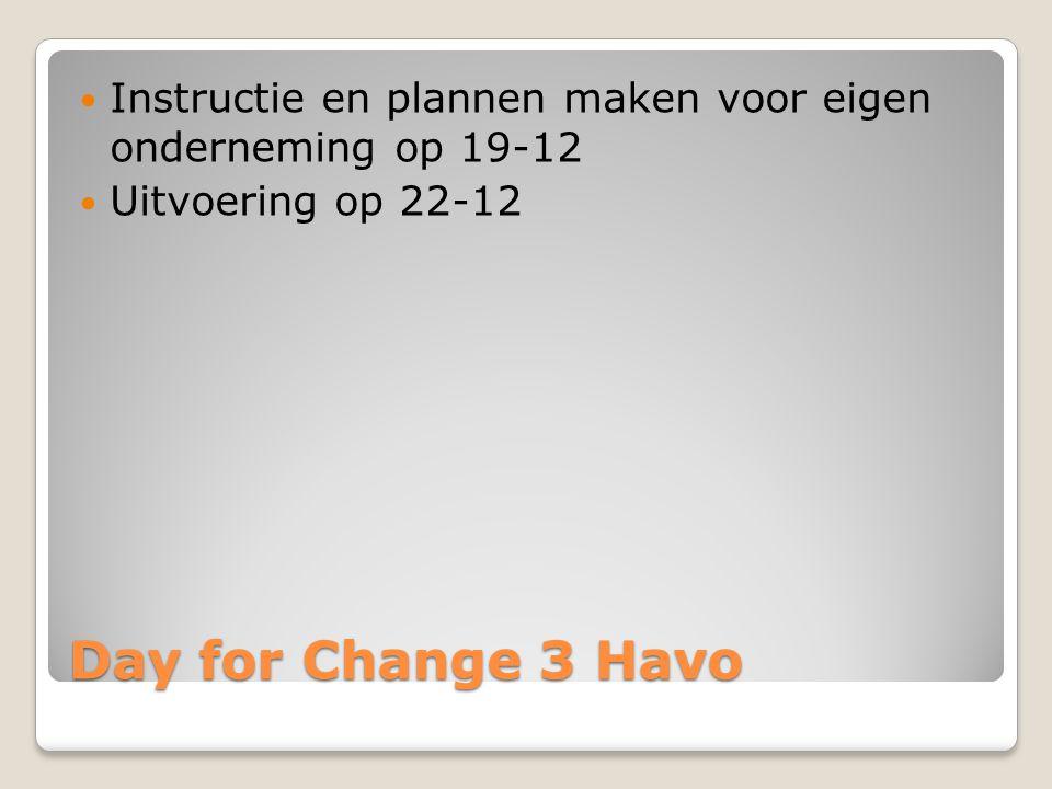 Day for Change 3 Havo Instructie en plannen maken voor eigen onderneming op 19-12 Uitvoering op 22-12