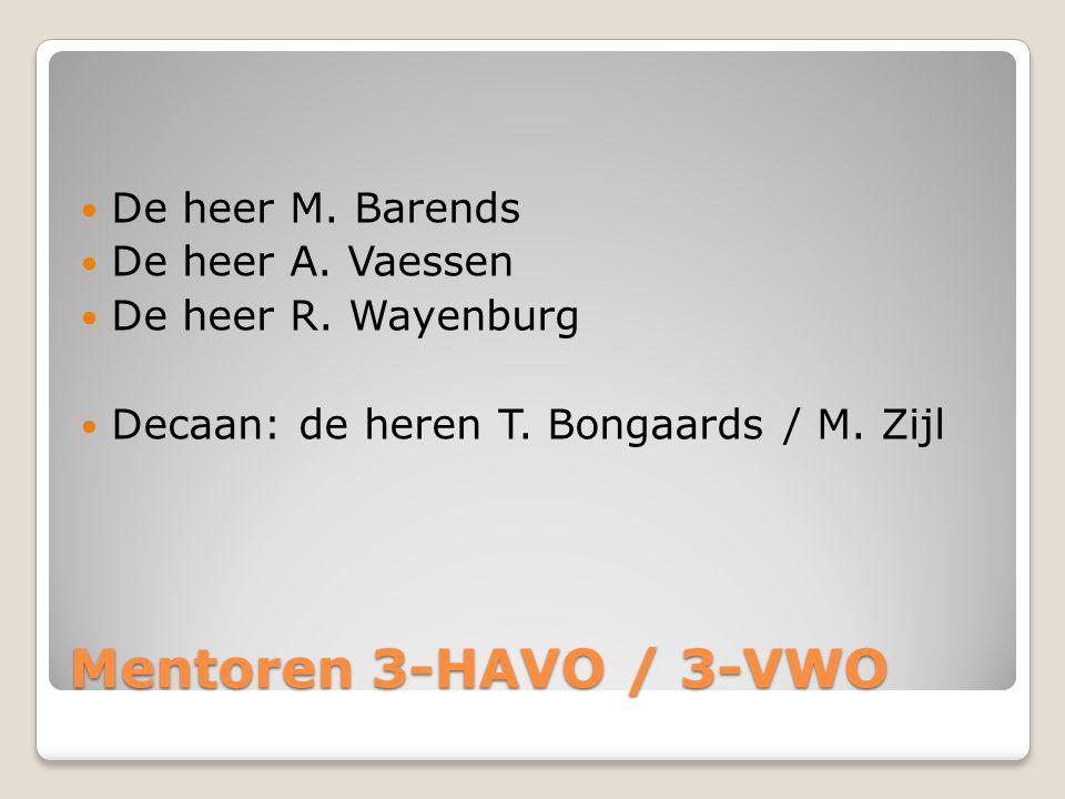 Mentoren 3-HAVO / 3-VWO De heer M. Barends De heer A. Vaessen De heer R. Wayenburg Decaan: de heren T. Bongaards / M. Zijl