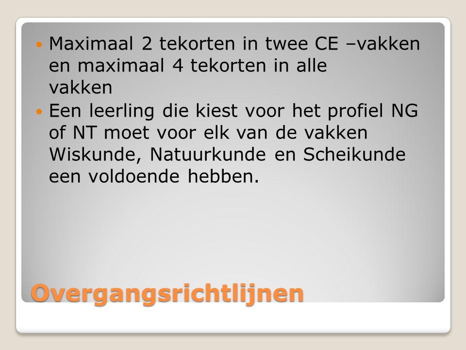 Overgangsrichtlijnen Maximaal 2 tekorten in twee CE –vakken en maximaal 4 tekorten in alle vakken Een leerling die kiest voor het profiel NG of NT moe
