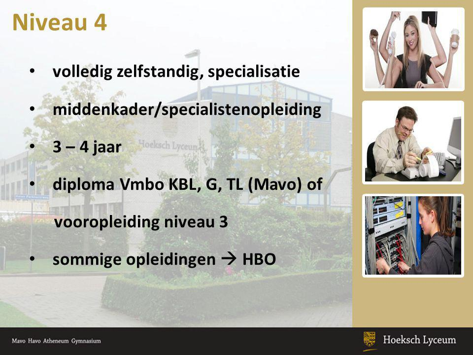 volledig zelfstandig, specialisatie middenkader/specialistenopleiding 3 – 4 jaar diploma Vmbo KBL, G, TL (Mavo) of vooropleiding niveau 3 sommige ople
